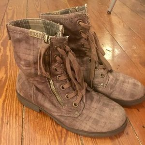 Brown Plaid Combat Boots
